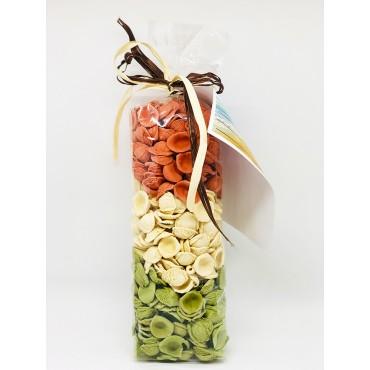 Orecchiette Pugliesi Tricolore - Tubo Cartolina - Gargano&Pasta - 500gr